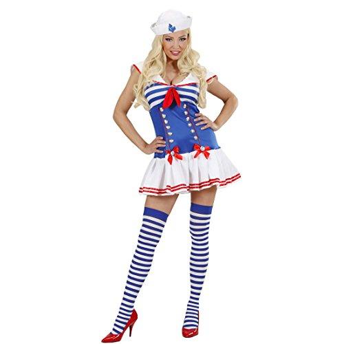 NET TOYS Matrosin Kostüm Damen Matrosenkostüm S 34/36 Marine Frauenkostüm blau-weiß Sexy Matrosinnen Kleid Matrosenuniform Damenkleid Seefrau Uniform Seefahrerin Party Outfit Frauen
