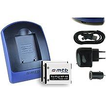 2 Baterìas + Cargador (USB/Coche/Corriente) per Fuji Fujifilm NP-45 / Finepix J., JV., JX., JZ., T., XP., Z..v. lista