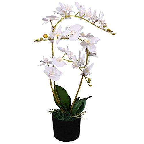 vidaXL Künstliche Orchidee mit Topf Kunstpflanze Kunstblume Dekoblume 65 cm Weiß
