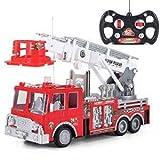 Prextex 13'' Autopompa dei Vigili del Fuoco Telecomandato Camion dei Pompieri con Telecomando Il Miglior Giocattolo da Regalare ad un Bambino con Luci Sirena e Scala Allungabile