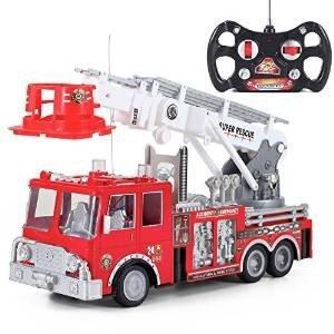Prextex 13\'\' Ferngesteuertes Feuerwehrauto mit Blaulicht, Sirene und ausziehbarer Leiter, Bestes Geschenk für Jungen