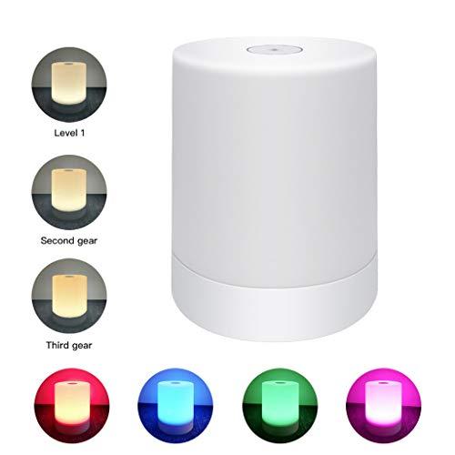 Yue668 LED Tischlampe Nachttischlampe Stimmung Nachtlicht 120 RGB Farben Farbwechsel Modi für Schlafzimmer Wohnzimmer (Weiß)