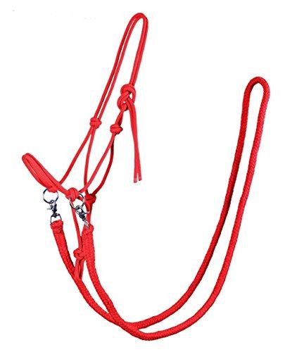 QHP Knotenhalfter mit Zügeln robustes 10 mm dickes Seil verschiedene Farben u. Größen (Vollblut, Hellrot)