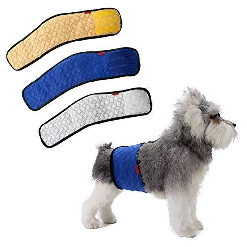 Mkouo (3 Stück) Stecker Hund Männliche Hundewindel Urin Inkontinenz Wasserdicht Bauchband Pad Waschbar Windel -