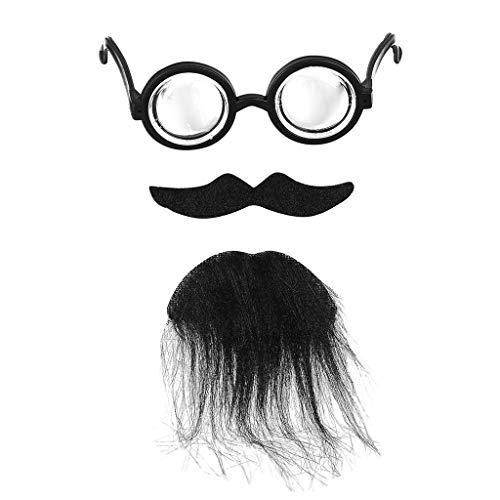 TeasyDay Lustige Kostümparty Männlicher Mann Halloween Bart Gesichtshaar Spiel Schnurrbart, 1 x Brille + Schnurrbart + Kinn- und Bart-Set, Hochwertiger handgefertigter Haarbart aus - Bilder Von Männlichen Piraten Kostüm