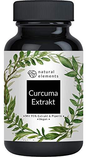 Curcuma Extrakt Kapseln - Vergleichssieger 2019* - Curcumingehalt EINER Kapsel entspricht dem von ca. 10.000mg Kurkuma - Hochdosiert aus 95% Extrakt - Laborgeprüft und hergestellt in Deutschland