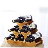 SPRING GLOW Europäische Massivholz Weinregal Dekoration Kreative Weinregal Bambus Display Rack Haushalt Weinflasche Rack Wohnzimmer Weinregal