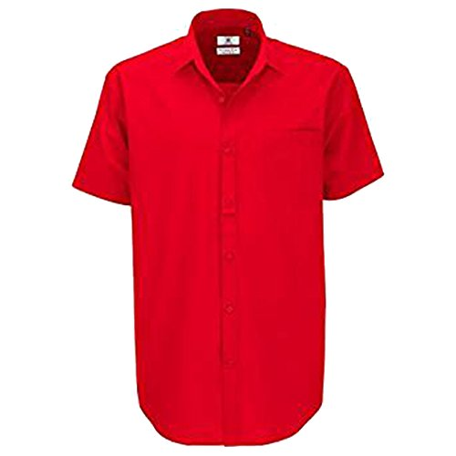 B&C Collection Herren Modern Business-Hemd Gr. L, dunkelrot (L/s Plaid Oxford Hemd Mens)