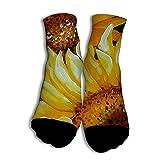 NOOU Neutral Freizeit Modische Männer und Frauen Socken für Studenten Sunflower Details White