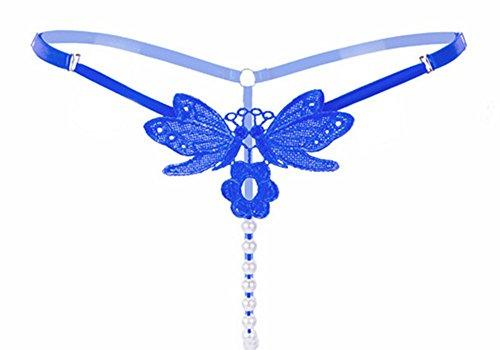 Perlen Unterwäsche String ouvert Frauen Damen Tanga Slip sexy Stickerei Blumen Unterhose Damenwäsche Dessous (Blau 1) (La Perla Spitzen-tangas)