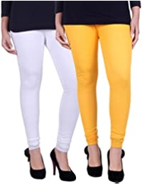 Belmarsh Cotton Blend Churidar Leggings - Pack of 2 (YLW_WHT)