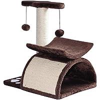 PawHut Rascador para Gatos Árbol Rascador Centro de Actividad Poste Giratorio con Bolas de Juego Plataforma Caseta 40x30x43cm Sisal Natural
