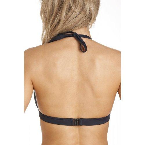 Camille - Damen Bikini-Oberteil mit Neckholder - Retro-Print - Schwarz/Weiß Schwarz