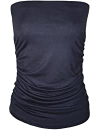 WearAll Womens Plain Strapless Sleeveless Ruched Boob Tube Ladies Bandeau Top - Sizes 8-14