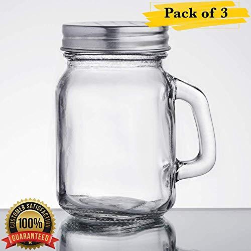 MM Foodservice Salz- und Pfefferstreuer aus Glas mit Edelstahldeckel, 28 g 5-Ounce Mason Jar farblos (Mason Top Shaker)