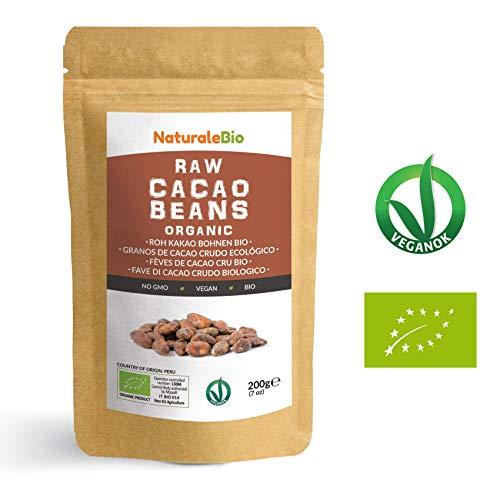 Granos de Cacao Crudo Ecológico 200g | 100 % Bio, Natural y Puro | Cultivado en Perú a partir de la planta Theobroma cacao | Superalimento rico en antioxidantes, minerales y vitaminas | NATURALEBIO