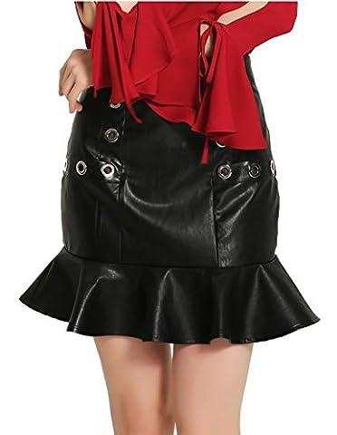 Good dress jupes de hanche de paquet jupe en cuir,noir,M