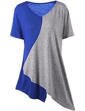 Zarupeng Camiseta de Cuello Redondo con Cuello EN V Asimétrico, Blusa con Cuello EN V Para Mujer
