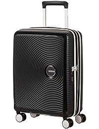 American Tourister Soundbox - Spinner S espandibile, bagaglio a mano, 55 cm, 41 l, nero/bianco