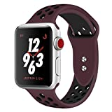 Straper Correa Apple Watch 42MM, Silicona Suave Correas Reloj Apple Watch Pulsera para iWatch Serie 4 Serie 3 Serie 2 Serie 1 Nike + Deportes y Edición Vino/Negro