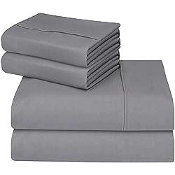 Utopia Bedding - Juego Sábanas de Cama - Microfibra Cepillada - (Cama 150, Gris)
