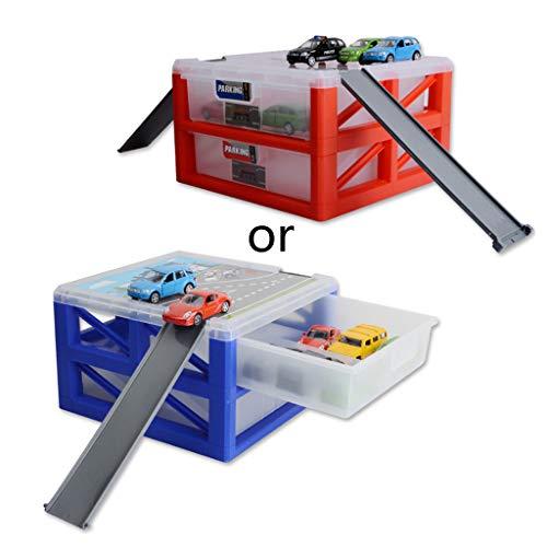 BINGMAX 1 Satz Tragbare Kunststoff Große Kapazität Aufbewahrungsbox Doppelschicht Schublade Parkplatz für Mini Auto Modell Spielzeug