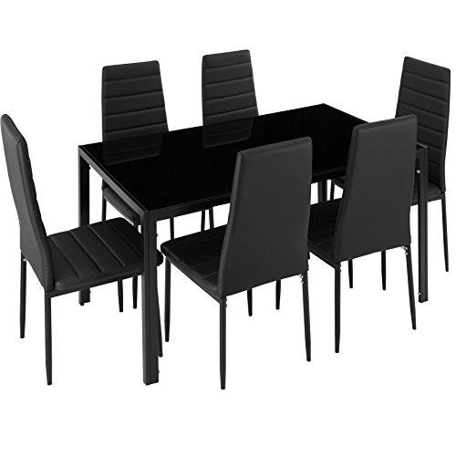 TecTake Conjunto Mesa 6 sillas Comedor Negro | No