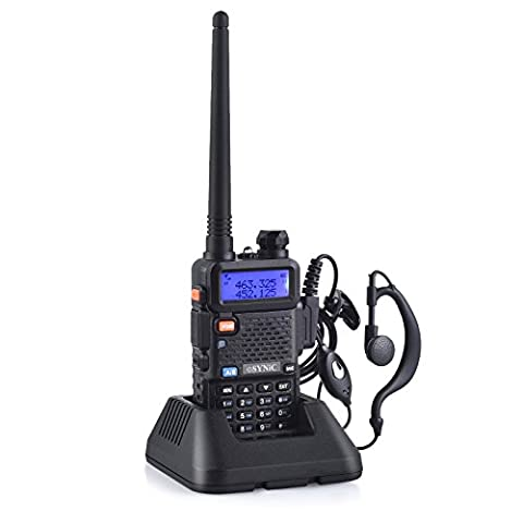 UV-5R Walkie Talkie Dual Band 400MHz~480MHz VHF/UHF Walky Talky with LED Display 128 Memory Channel with Explosion-flashing Alarm and Radio Function Supports VOX for Construction Site Hotel Outdoor Adventure with USB Charging Base