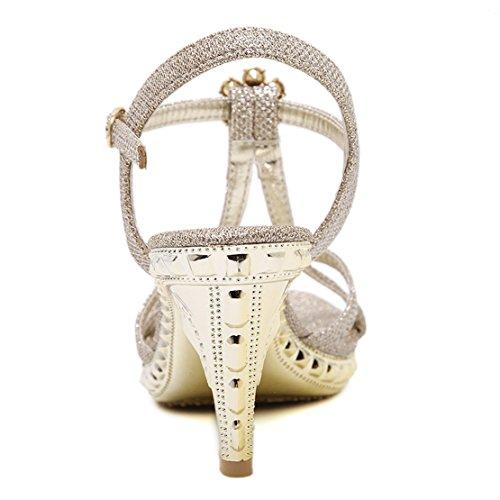 AIYOUMEI Damen Glitzer T-spange Knöchelriemchen Sandalen mit Strass Stiletto High Heels Elegant Schuhe Gold