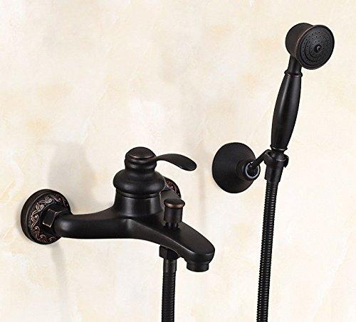 Athraoay Wasserhahn Waschbecken Armatur Schwarz Dusche Set Messing Warmes und kaltes Wasser Wanne der Einhebelsteuerung Bad Mischbatterie Waschtischarmatur Badarmatur (Dusche Wanne Set)