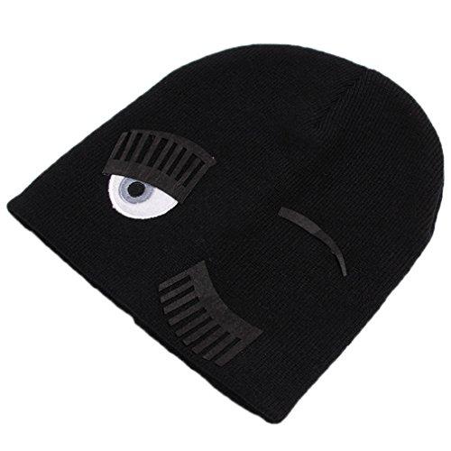 HENGSONG Cappello Per Beanies Maglia Donne Inverno Grande Occhio Ciglia Tappo Occhiolino Hippie Cappello Da Sci Skullies (Nero)
