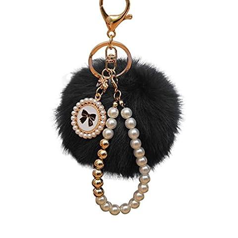 ALCYONEUS Cute Keychain Artificial Fur Ball Plush Key Ring Car Bag Pendant Ornament (Black)