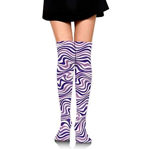 Thin Stripe Socks (CVDGSAD Knee High Socks Thin Stripe Texture Long Socks Boot Stocking Compression Socks for Women)