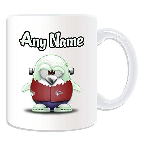 Personalisiertes Geschenk-Frankenstein Monster Tasse (Pinguin Film Charakter Design Thema, weiß)-Jeder Name/Nachricht auf Ihre Einzigartiges-Kostüm Film Superheld (Kid Frankenstein Kostüm)