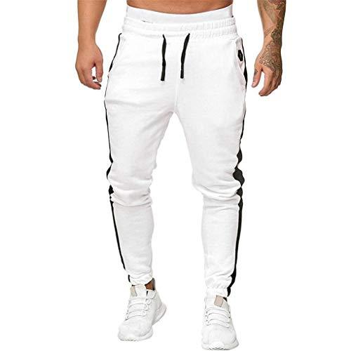 Sporthose für Herren,Skxinn Männer Sommer Hosen,Trainingshose Cargo Pants Jogginghose Sweatpants Jogger Mode Freizeit Laufen Fitness Streifen Enger Beinabschluss M-3XL Ausverkauf(Weiß,X-Large)