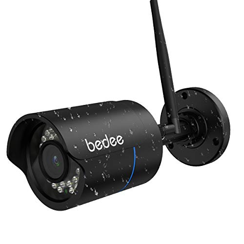 WLAN IP Kamera bedee 1080P WIFI Überwachungskamera FHD Außenkamera mit IR Nachtsicht, Fernalarm, Bewegungserkennung, 128G Karte Slot, 9.8ft Kabel Wasserdichte Sicherheitskamera für Innen Außen Monitor 1080p Kabel