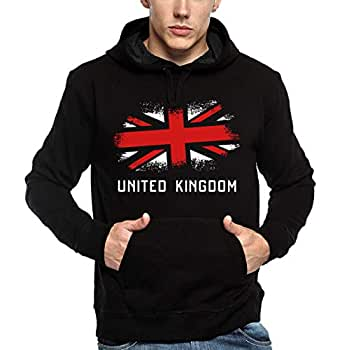 ADRO Men's Cotton UK Flag Printed Hoodies (Black; XX-Large)