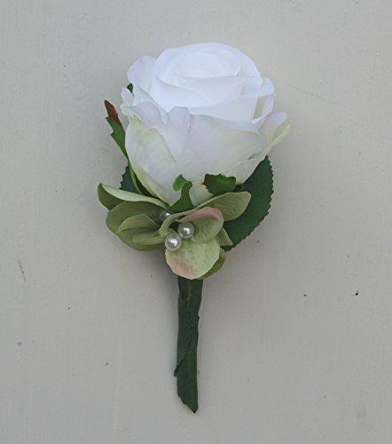 floristikvergleich.de Anstecker Bräutigam Hochzeitsanstecker Bräutigamanstecker weiße Rose #44954