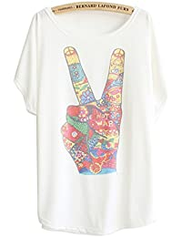 Luna et Margarita T-shirt femme blanche manche chauve-souris à motif col rond coton mélange taille 36 38 40 42 44 46