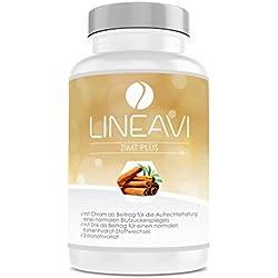 Canela Plus LINEAVI | 400 mg de canela, 7 mg de zinc, 100 µg de cromo al día | nivel de glucosa en la sangre, metabolismo, pérdida de peso, piel, cabello | fabricado en Alemania | 180 cápsulas