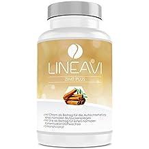 Canela Plus LINEAVI • 400 mg de canela, 7 mg de zinc, 100 µg de cromo al día • nivel de glucosa en la sangre, metabolismo, pérdida de peso, piel, cabello • fabricado en Alemania • 180 cápsulas