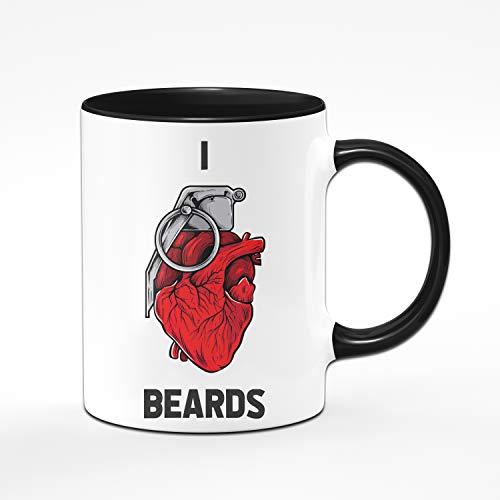 Tassenbrennerei Tasse mit Spruch I Love Beards - Ich Liebe Bärte - Grafik mit Handgranate Geschenk für Männer, Freund mit Bart (Schwarz)