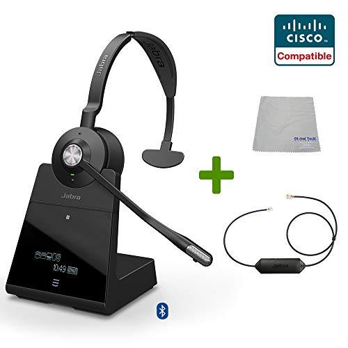 Global Teck Wireless Headset Bundle mit Ehs Adapter, 9556-583-125-Cis, Cisco IP-Telefone, Jabber, Spark, Finesse, PC/Mac, USB, Bluetooth Ip Wireless Headset