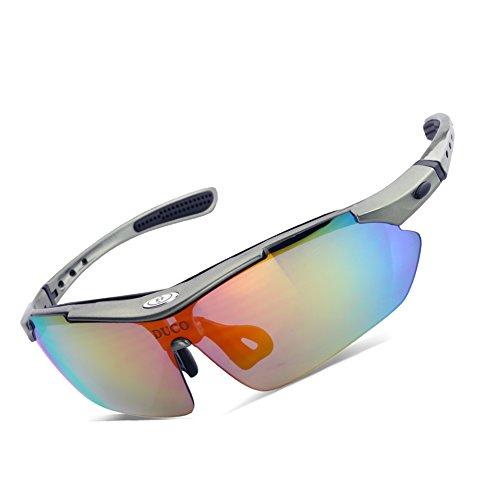 Duco occhiali da sole polarizzati occhiali, 5 lenti intercambiabili, uv400 (gunmetal)