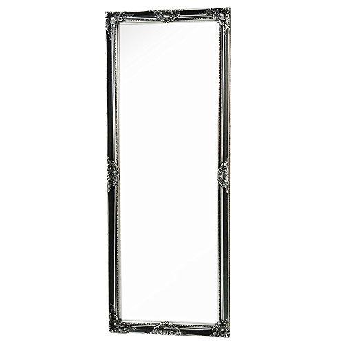 LEBENSwohnART Wandspiegel LEANDOS-XL schwarz-Silber 180x70cm Barock Antik Spiegel Facette