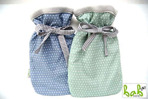 Handmade Wärmflaschenbezug doppelseitig mit Sterne in Blau/Grün, Wärmflasche mit Bezug, Wärmflaschenhülle von bab-Berlin