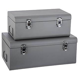 Set de 2 Coffres Malles de rangement en métal - Esprit cantine - Coloris GRIS