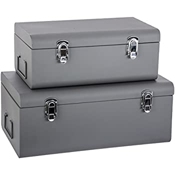 Set Of 2 Metal Storage Chests   Trunk Design   Colour GREY