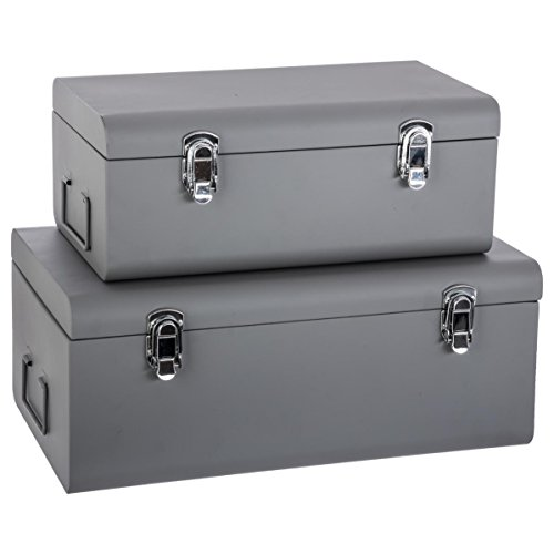 Set de 2 Coffres Malles de rangement en métal – Esprit cantine – Coloris GRIS