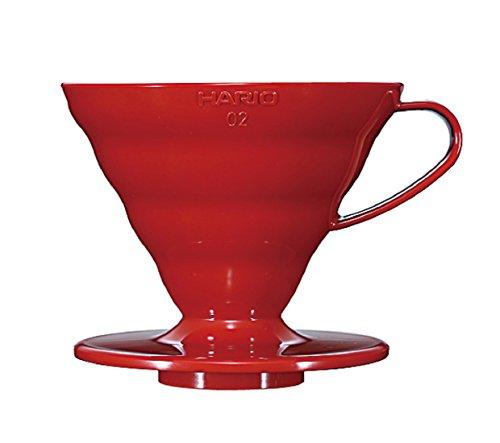 Hario VD02R - Cafetera Dripper V60, de plástico, 4 tazas, color rojo
